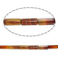 الطبيعية الخرز العقيق الرباط, الدانتيل العقيق, المستطيل, أحمر, 13x4mm, حفرة:تقريبا 1mm, طول:تقريبا 15 بوصة, 5جدائل/الكثير, تقريبا 29/حبلا, تباع بواسطة الكثير
