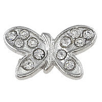 Brass Jewelry Connector, Butterfly, platinum color plated, with rhinestone & 2/2 loop, nickel, lead & cadmium free, 21x13x6mm, Hole:Approx 1.5mm, 200PCs/Lot, Sold By Lot