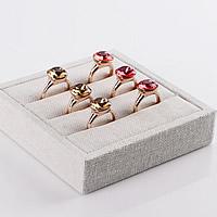 Len Ekspozycja pierścionków, ze Drewno, Prostokąt, beżowy, 102x102x25mm, 4komputery/wiele, sprzedane przez wiele