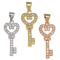 Cubic Zirconia Micro Pave Brass Pendant, Key, plated, micro pave cubic zirconia, more colors for choice, nickel, lead & cadmium free, 10x22x3mm, Hole:Approx 3.5x4.5mm, 20PCs/Bag, Sold By Bag