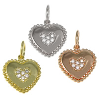 Cubic Zirconia Micro Pave Brass Pendant, Heart, plated, micro pave cubic zirconia, more colors for choice, nickel, lead & cadmium free, 12x12x2mm, Hole:Approx 4mm, 30PCs/Bag, Sold By Bag
