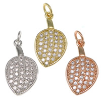 Cubic Zirconia Micro Pave Brass Pendant, Teardrop, plated, micro pave cubic zirconia, more colors for choice, nickel, lead & cadmium free, 9x16x2mm, Hole:Approx 2.2mm, 20PCs/Bag, Sold By Bag