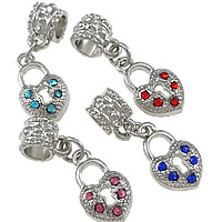 Brass European Pendant, Heart, platinum color plated, without troll & with rhinestone, more colors for choice, nickel, lead & cadmium free, 10x16x3mm, 26mm, Hole:Approx 5mm, 100PCs/Lot, Sold By Lot