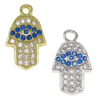 Cubic Zirconia Micro Pave Brass Pendant, Evil Eye Hamsa, plated, Jewish  Jewelry & Islamic jewelry & micro pave cubic zirconia, more colors for choice, nickel, lead & cadmium free, 8x14x2mm, Hole:Approx 1.5mm, 20PCs/Bag, Sold By Bag