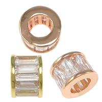 Zirkoon Micro Pave Brass European Kralen, Messing, Kolom, plated, micro pave zirconia & zonder troll, meer kleuren voor de keuze, nikkel, lood en cadmium vrij, 6.50x8.50mm, Gat:Ca 4.5mm, 20pC's/Bag, Verkocht door Bag