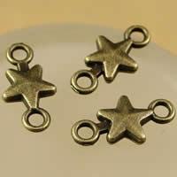 Звездчатый соединитель цинкового сплава, цинковый сплав, Звезда, Покрытие под бронзу старую, 1/1 петля, не содержит никель, свинец, 15x7.5mm, отверстие:Приблизительно 1.5-2.5mm, 200ПК/сумка, продается сумка