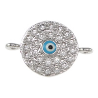 Evil Eye Connector, Brass, real silver plated, micro pave cubic zirconia & enamel & 1/1 loop, nickel, lead & cadmium free, 15.50x10x2.50mm, Hole:Approx 2.5mm, 20PCs/Bag, Sold By Bag