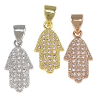 Cubic Zirconia Micro Pave Brass Pendant, Hamsa, plated, Jewish  Jewelry & micro pave cubic zirconia, more colors for choice, nickel, lead & cadmium free, 8.50x17x1.50mm, Hole:Approx 3.5x4mm, 20PCs/Bag, Sold By Bag