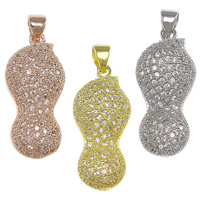 Cubic Zirconia Micro Pave Brass Pendant, Peanut, plated, micro pave cubic zirconia & hollow, more colors for choice, nickel, lead & cadmium free, 11x25x8mm, Hole:Approx 3.5x4.5mm, 5PCs/Bag, Sold By Bag