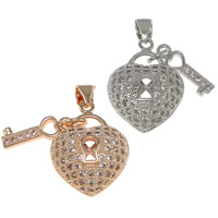 Cubic Zirconia Micro Pave Brass Pendant, heart and key, plated, micro pave cubic zirconia, more colors for choice, nickel, lead & cadmium free, 15x20x8mm,4.5x14.5x2mm, Hole:Approx 3.5x4.5mm, 10PCs/Bag, Sold By Bag
