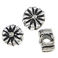 Thailand Sterling Silver Beads, Flower, 3x2mm, Hole:Approx 1mm, 100PCs/Bag, Sold By Bag