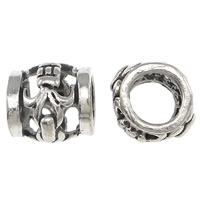 Thailand Sterling Silver Beads, Drum, hollow, 5x4mm, Hole:Approx 2mm, 30PCs/Bag, Sold By Bag