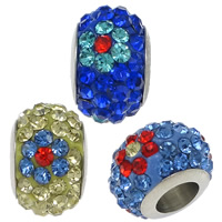 Rhinestone European Beads, Stainless Steel, with Rhinestone Clay Pave, Rondelle, with 70 pcs rhinestone & without troll, more colors for choice, 7.50x12mm, Hole:Approx 5mm, 50PCs/Lot, Sold By Lot