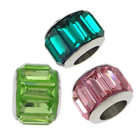 Stainless Steel European Beads, with Glass, Rondelle, without troll & faceted, more colors for choice, 7x10mm, Hole:Approx 5mm, 20PCs/Lot, Sold By Lot