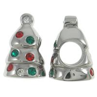 Koraliki ze stali nierdzewnej świąteczne, Stal nierdzewna, świąteczne drzewko, Biżuteria Boże Narodzenie & bez gwintu & z kamieniem, wielokolorowy, 10x14x9mm, otwór:około 4.5mm, sprzedane przez PC