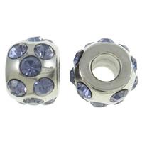 RVS European Beads, Roestvrij staal, Drum, zonder troll & met strass, meer kleuren voor de keuze, 12x9mm, Gat:Ca 4.5mm, Verkocht door PC