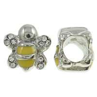 Stainless Steel European Beads, Bee, without troll & with rhinestone & two tone, 11x11x10mm, Hole:Approx 5mm, Sold By PC