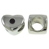 RVS European Beads, Roestvrij staal, Hart, zonder troll, oorspronkelijke kleur, 9x7.50x8mm, Gat:Ca 5mm, Verkocht door PC