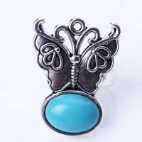 кольца из бирюзы, цинковый сплав, с бирюза & Железо, бабочка, плакированный цветом под старое серебро, регулируемый, не содержит никель, свинец, 30x22mm, размер:7.5, 20ПК/сумка, продается сумка