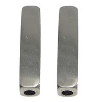 Roestvrijstaal Buis Kralen, Roestvrij staal, Rechthoek, oorspronkelijke kleur, 4x18mm, Gat:Ca 2mm, 50pC's/Lot, Verkocht door Lot