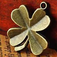 Zamak Clover Hanger, Zinc Alloy, Four Leaf Clover, antiek brons plated, nikkel, lood en cadmium vrij, 22x27mm, Gat:Ca 1.5-2.5mm, 300pC's/Bag, Verkocht door Bag