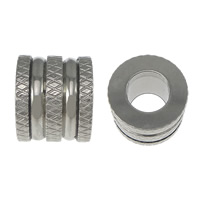 Stainless Steel Jewelry Beads, Column, flower cut, original color, 10x12mm, Hole:Approx 6.5mm, 100PCs/Lot, Sold By Lot
