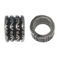 Stainless Steel Jewelry Beads, Column, blacken, 9x13mm, Hole:Approx 9mm, 50PCs/Lot, Sold By Lot
