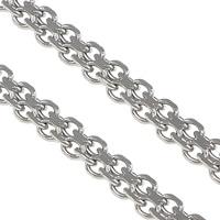 Łańcucha krawężnika ze stali nierdzewnej, Stal nierdzewna, łańcucha krawężnika & dwupasmowe, oryginalny kolor, 3.50x1.50mm, 100m/wiele, sprzedane przez wiele