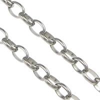 Owalne łańcucha ze stali nierdzewnej, Stal nierdzewna, oryginalny kolor, 0.6mm,4.6x3.5x1.2mm, 100m/wiele, sprzedane przez wiele