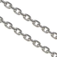 Owalne łańcucha ze stali nierdzewnej, Stal nierdzewna, oryginalny kolor, 3x2x0.60mm, 100m/wiele, sprzedane przez wiele