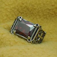 Кольца с камнями, нержавеющая сталь, с рубин, Июль камень & разный размер для выбора & граненый, 12.60mm, 10ПК/Лот, продается Лот