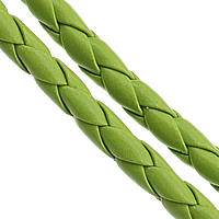 Leather Cord PU woven green 5mm Length:100 m