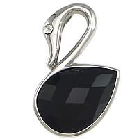 Wisiorki z czarnym agatem, Stal nierdzewna 304, ze Agat czarny, Łabędź, fasetowany & z kamieniem, oryginalny kolor, 21x30x7mm, otwór:około 2x4mm, 10komputery/wiele, sprzedane przez wiele