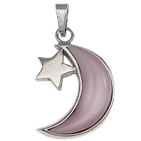 Cats Eye Pendants, 304 Stainless Steel, with Cats Eye, Moon and Star, original color, 22x31x6mm, Hole:Approx 4x7mm, 10PCs/Lot, Sold By Lot