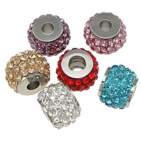 Rhinestone European Beads, 304 Stainless Steel, with Rhinestone Clay Pave, Drum, with 64 pcs rhinestone, more colors for choice, 10x14x14mm, Hole:Approx 5.2mm, 10PCs/Lot, Sold By Lot