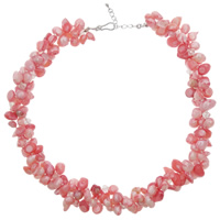 Freshwater Pearl Necklace, with Crystal, brass lobster clasp, with 5cm extender chain, Keishi, more colors for choice, 6-14mm, Sold Per Approx 20 Inch Strand