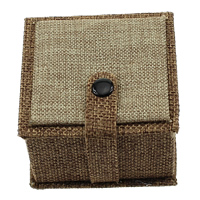Linen Ring Box, with Velveteen & Wood, Square, 70x70x45mm, 10PCs/Lot, Sold By Lot