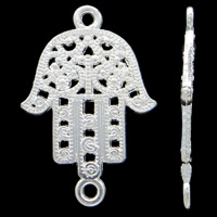 Hamsa Zinc Alloy Connector, bright silver color plated, Jewish  Jewelry & Islamic jewelry & 1/1 loop, nickel, lead & cadmium free, 22x33x2mm, Hole:Approx 1mm, Approx 365PCs/KG, Sold By KG