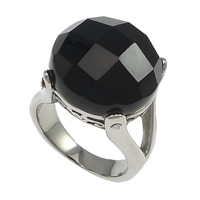 Agate Finger Ring 304 Stainless Steel with Black Agate Flat Round natural faceted original color 17mm US Ring Size:8 10PCs/Lot