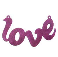Letter Zinc Alloy Connector, word love, platinum color plated, enamel & 1/1 loop & colorful powder, fuchsia, lead & cadmium free, 115x70x3mm, Hole:Approx 2mm, Sold By PC