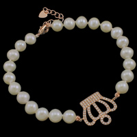 Freshwater Cultured Pearl Bracelet Freshwater Pearl brass lobster clasp with 3.8cm extender chain Crown natural micro pave cubic zirconia white 6-7mm 24x18x2mm Sold Per Approx 7.5 Inch Strand
