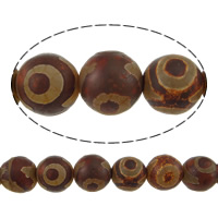 Natural Tibetan Agate Dzi Beads, Round, two tone, 12mm, Hole:Approx 1mm, Length:Approx 14.5 Inch, 5Strands/Lot, Approx 32/Strand, Sold By Lot