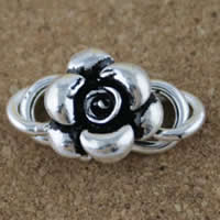 Brass S Shape Clasp, Flower, antique silver color plated, lead & cadmium free, 13x18mm, Hole:Approx 3mm, 5PCs/Bag, Sold By Bag