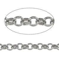 Stainless Steel Rolo Chain, original color, 3x1mm, 1mm, 100m/Lot, Sold By Lot
