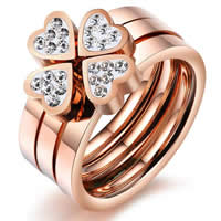 Cubic Zirconia Stainless Steel Finger Ring, Four Leaf Clover, rose gold color plated, different size for choice & with cubic zirconia, 7-6mm, 5Sets/Bag, Sold By Bag