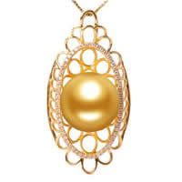 Golden South Sea Pearl Pendant, with Diamond & Brass, natural, gold, 14-15mm, Hole:Approx 3-5mm, Sold By PC
