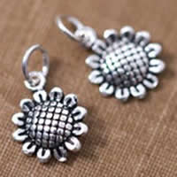Brass Jewelry Pendants, Flower, antique silver color plated, lead & cadmium free, 10x7mm, Hole:Approx 2-5mm, 10PCs/Bag, Sold By Bag