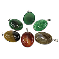 Agate Jewelry Pendants, with Brass, platinum color plated, mixed, nickel, lead & cadmium free, 31x46x9mm, Hole:Approx 5x7mm, 10PCs/Lot, Sold By Lot