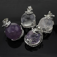 Ice Quartz Agate Pendant, with Brass, platinum color plated, mixed colors, nickel, lead & cadmium free, 20-25x30-32mm, Hole:Approx 5x7mm, 10PCs/Lot, Sold By Lot