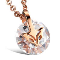 Cubic Zirconia Pendant, Stainless Steel, with Cubic Zirconia, Fox, rose gold color plated, faceted, 13x13mm, Hole:Approx 2-10mm, 5PCs/Bag, Sold By Bag